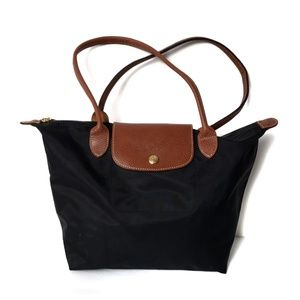 Longchamp Black & Tan Pilage Handbag Purse